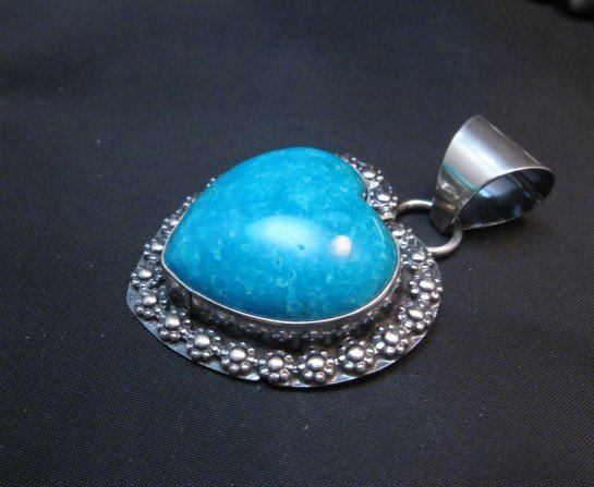 Image 1 of Navajo Natural Kingman Turquoise Heart Pendant, Everett and Mary Teller