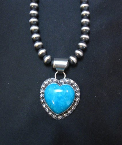 Image 2 of Navajo Natural Kingman Turquoise Heart Pendant, Everett and Mary Teller