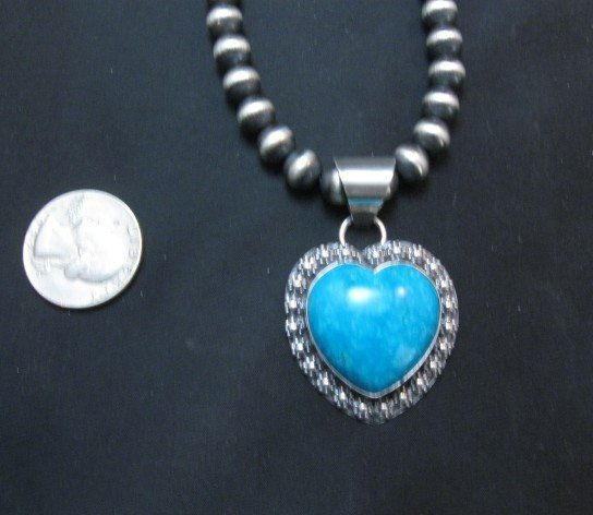 Image 3 of Navajo Natural Kingman Turquoise Heart Pendant, Everett and Mary Teller