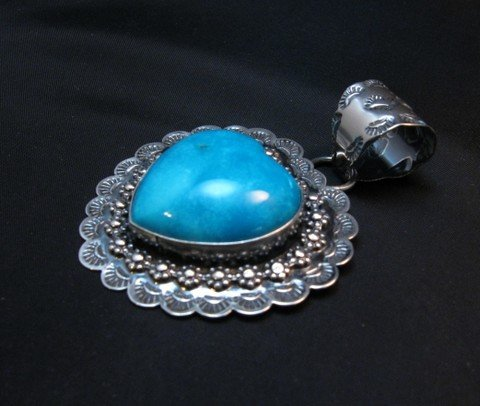 Image 1 of Navajo Native American Turquoise Heart Pendant, Everett and Mary Teller