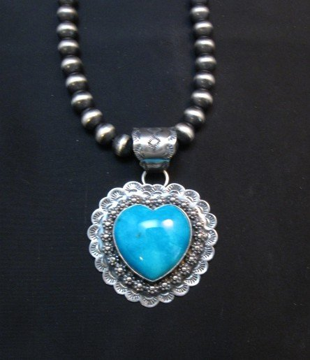 Image 2 of Navajo Native American Turquoise Heart Pendant, Everett and Mary Teller