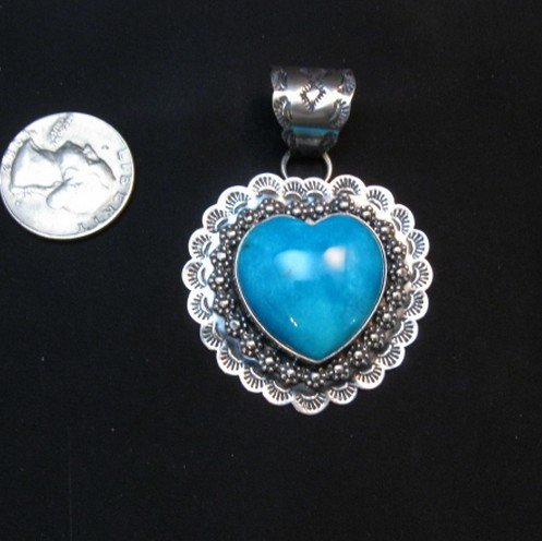 Image 3 of Navajo Native American Turquoise Heart Pendant, Everett and Mary Teller