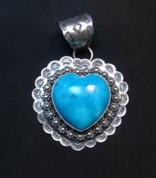 Navajo Native American Turquoise Heart Pendant, Everett and Mary Teller