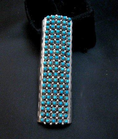 Image 0 of Zuni Indian Turquoise 20row 100stones Snake Eye Ring Steven Haloo sz8-3/4