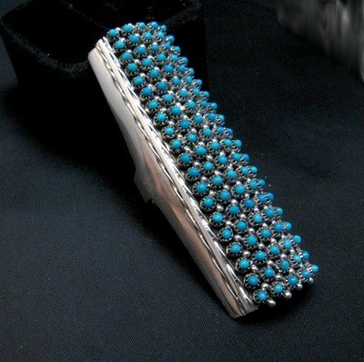 Image 1 of Zuni Indian Turquoise 20row 100stones Snake Eye Ring Steven Haloo sz8-3/4