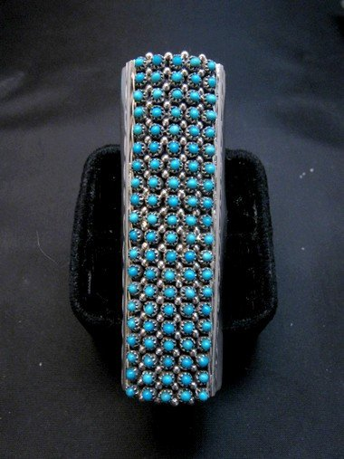 Image 4 of Zuni Indian Turquoise 20row 100stones Snake Eye Ring Steven Haloo sz8-3/4