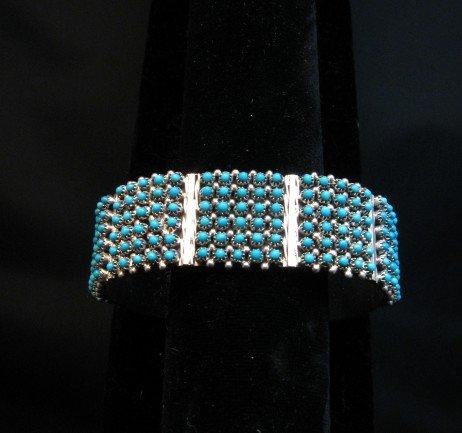 Image 0 of Zuni 6-Row 150 Turquoise Snake Eye Sterling Silver Cuff Bracelet, Steven Haloo