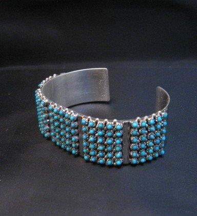 Image 1 of Zuni 6-Row 150 Turquoise Snake Eye Sterling Silver Cuff Bracelet, Steven Haloo