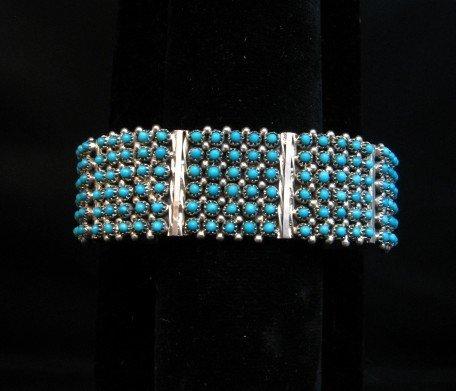 Image 3 of Zuni 6-Row 150 Turquoise Snake Eye Sterling Silver Cuff Bracelet, Steven Haloo