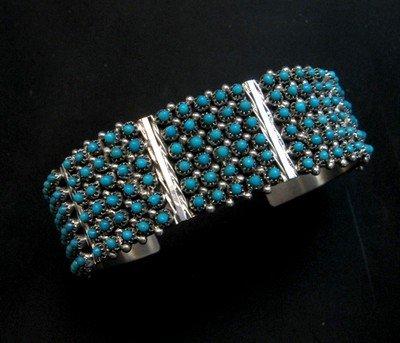 Image 4 of Zuni 6-Row 150 Turquoise Snake Eye Sterling Silver Cuff Bracelet, Steven Haloo