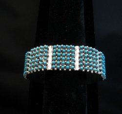 Zuni 6-Row 150 Turquoise Snake Eye Sterling Silver Cuff Bracelet, Steven Haloo