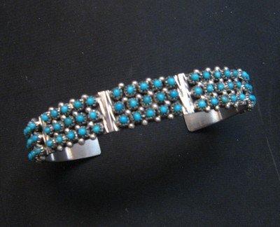 Image 0 of Zuni 3-Row 75 Turquoise Snake Eye Sterling Silver Cuff Bracelet, Steven Haloo