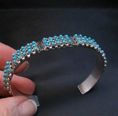 Image 1 of Zuni 3-Row 75 Turquoise Snake Eye Sterling Silver Cuff Bracelet, Steven Haloo