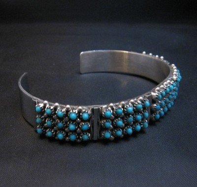 Image 2 of Zuni 3-Row 75 Turquoise Snake Eye Sterling Silver Cuff Bracelet, Steven Haloo