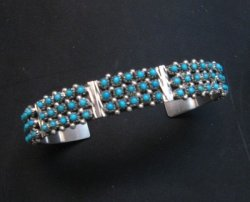Zuni 3-Row 75 Turquoise Snake Eye Sterling Silver Cuff Bracelet, Steven Haloo
