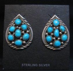 Vintage Navajo Native American Turquoise Cluster Earrings