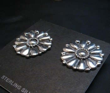 Image 2 of Melvin Francis Navajo Silver Concho Earrings