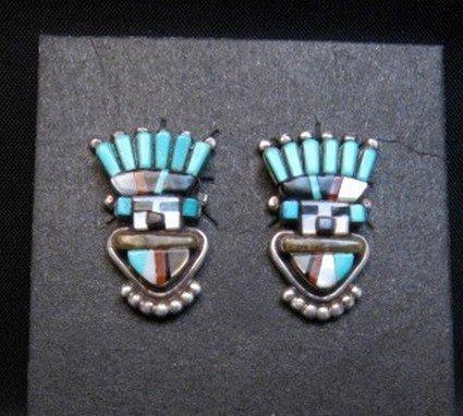Image 0 of Vintage Sybal Cachini Zuni Kachina Multigem Inlay Earrings