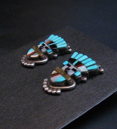 Image 1 of Vintage Sybal Cachini Zuni Kachina Multigem Inlay Earrings