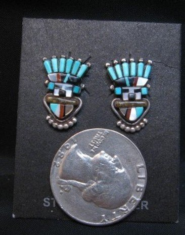 Image 2 of Vintage Sybal Cachini Zuni Kachina Multigem Inlay Earrings