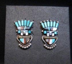 Vintage Sybal Cachini Zuni Kachina Multigem Inlay Earrings