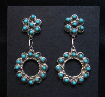 Image 0 of Zuni Turquoise Snake Eye Dangle Earrings, Waylon Johnson