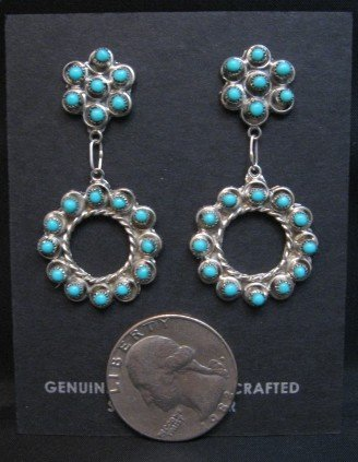 Image 1 of Zuni Turquoise Snake Eye Dangle Earrings, Waylon Johnson