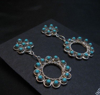 Image 2 of Zuni Turquoise Snake Eye Dangle Earrings, Waylon Johnson