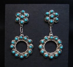 Zuni Turquoise Snake Eye Dangle Earrings, Waylon Johnson
