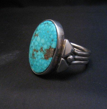 Image 1 of Orville Tsinnie Navajo Kingman Turquoise Silver Ring sz12-1/4