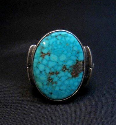 Image 5 of Orville Tsinnie Navajo Kingman Turquoise Silver Ring sz12-1/4
