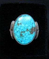 Orville Tsinnie Navajo Kingman Turquoise Silver Ring sz12-1/4