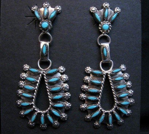 Image 0 of Zuni Turquoise Needlepoint Dangle Earrings, Merlinda & Delbert Chavez
