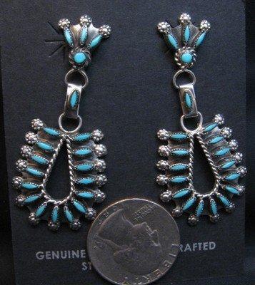 Image 1 of Zuni Turquoise Needlepoint Dangle Earrings, Merlinda & Delbert Chavez