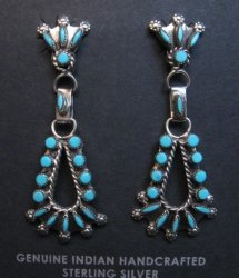 Native American Zuni Turquoise Earrings, Merlinda & Delbert Chavez