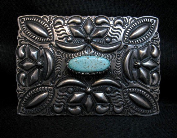 Image 0 of Navajo Darryl Becenti Number 8 Turquoise Silver Buckle