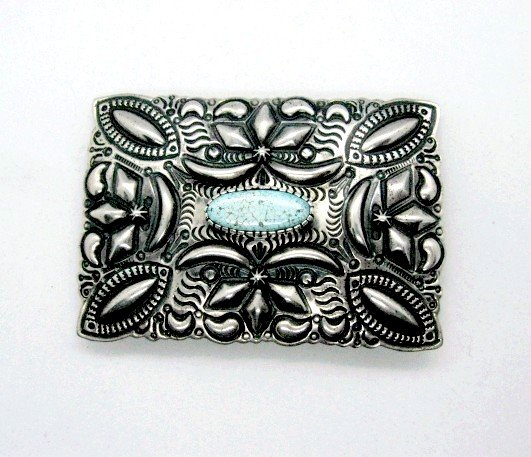 Image 2 of Navajo Darryl Becenti Number 8 Turquoise Silver Buckle