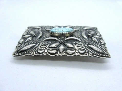 Image 3 of Navajo Darryl Becenti Number 8 Turquoise Silver Buckle