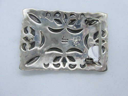 Image 4 of Navajo Darryl Becenti Number 8 Turquoise Silver Buckle