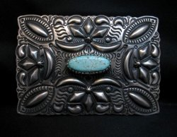 Navajo Darryl Becenti Number 8 Turquoise Silver Buckle