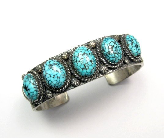 Image 0 of Navajo Kingman Web Turquoise Row Bracelet, Gilbert Tom