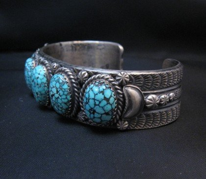 Image 2 of Navajo Kingman Web Turquoise Row Bracelet, Gilbert Tom