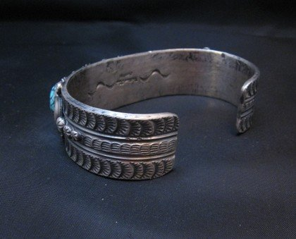 Image 3 of Navajo Kingman Web Turquoise Row Bracelet, Gilbert Tom