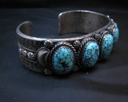 Image 4 of Navajo Kingman Web Turquoise Row Bracelet, Gilbert Tom