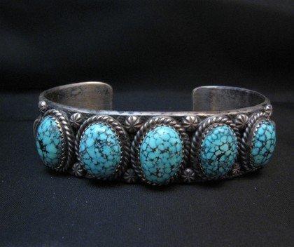 Image 5 of Navajo Kingman Web Turquoise Row Bracelet, Gilbert Tom