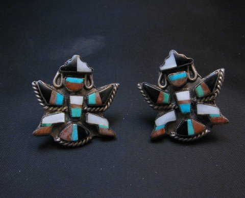 Image 0 of Vintage Pawn Zuni Knifewing Earrings - Screwback