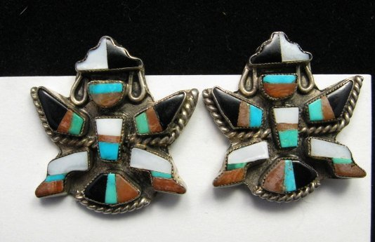 Image 2 of Vintage Pawn Zuni Knifewing Earrings - Screwback