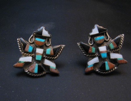 Image 3 of Vintage Pawn Zuni Knifewing Earrings - Screwback