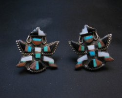 Vintage Pawn Zuni Knifewing Earrings - Screwback