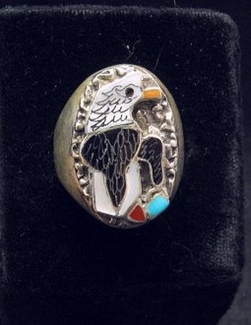 Image 0 of Zuni Multistone Etched Inlay Eagle Ring sz11